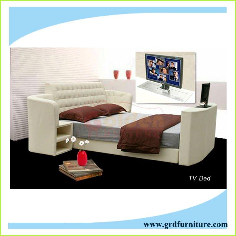 moderno ascensore letto tv in pelle con stand in pelle bianca camera da letto...