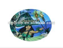Round Christmas printed decorative tin tray wholesale