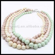 2012 New design fashion charming multi-color matt beaded handmade collar necklace