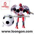 robot loongon transfor entre el fútbol y el robot con el sonido y la luz juguetes figura