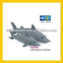 Shark Shape LED Flashlight Sound Keyring