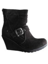 Buckle high heels snow boots women