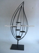 Metal wire candle holder leaf series with black metal base