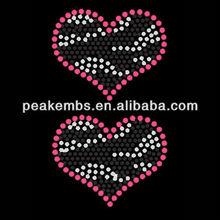 Beautiful zebra heart crystal sew on stones design