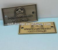 customized nickel rectangle brand badge