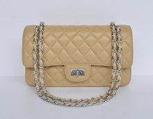 hot selling beige genuine leather brand handbag cheap shoulder bags with silver/ golden shoulder strap