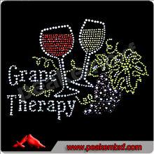 Wholesale Wine & Grape Therapy Hot fix Iron on Rhinestone Motif Transfer Designs