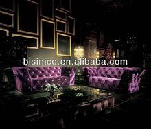 Purple Fabric Sofa, Classic Chesterfield Living Room Fabric Sofa