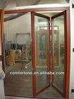 CE/CSA Canadian hemlock solid wood folding door with double glass