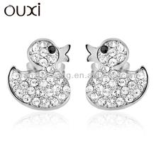 OUXI Lovely duck cartoon earrings with Austrian crystal