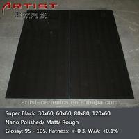 [Artist Ceramics] black shiny floor tile 300x600 600x600 800x800 1200x600