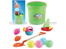 NEW kids plastic summer sandy beach bucket with beach ball toys