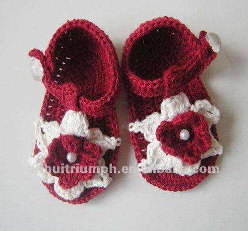 Uso diario sandalias del bebé del ganchillo-Calzado de bebé ...