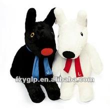 Custom soft black and white stuffed plush dog toy dolls for promotion gift