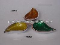 leaf shaped cast Aluminium Enamel Bowl with Food safe enamel