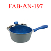 Blue aluminium forged saucepan with lid