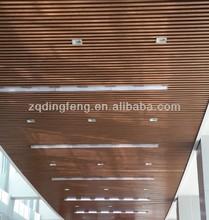 Wood aluminum U shape strip ceiling for office building