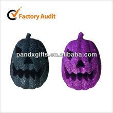 cute 7.87inch elliptical Glittered foam pumpkins for halloween party