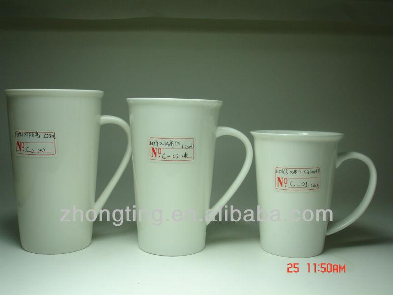Zhong Shan Ceramic Mugs White Stuff Table Ware Plain Porcelain 320ml 11oz CE Mark Approval C-02 Small