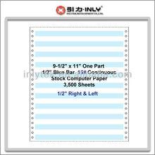 """9-1/2"""" x 11"""" One Part 1/2"""" Blue Bar 15# Continuous Paper"""