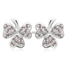clover shaped white stone stud earrings with Austrian crystal