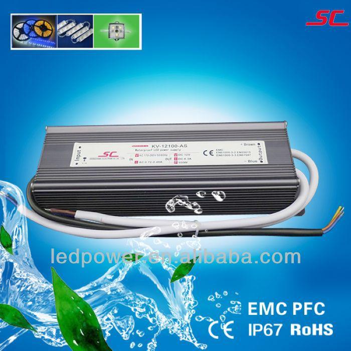 output 12V 8.3a 100w PFC EMC constant voltage waterproof led transformer 220v to 12v