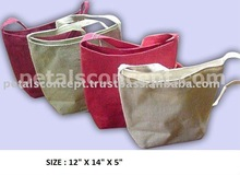 Jute tote bag with long handle