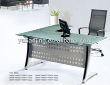Hot Sell Simple Metal Frame Glass Top Executive Office Desk