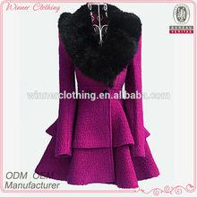 2015 winter women's coat fancy bodysuit big fur collar shift flare skirt unique women winter coats