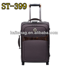 Fashion designer brown color four pieces set EVA fabric travel luggage set on wheels