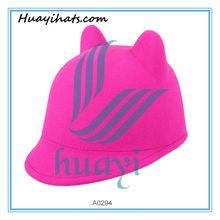 Girls wool felt cat ears pink caps