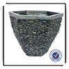 13 Inches high pebble like fiberglass garden planter