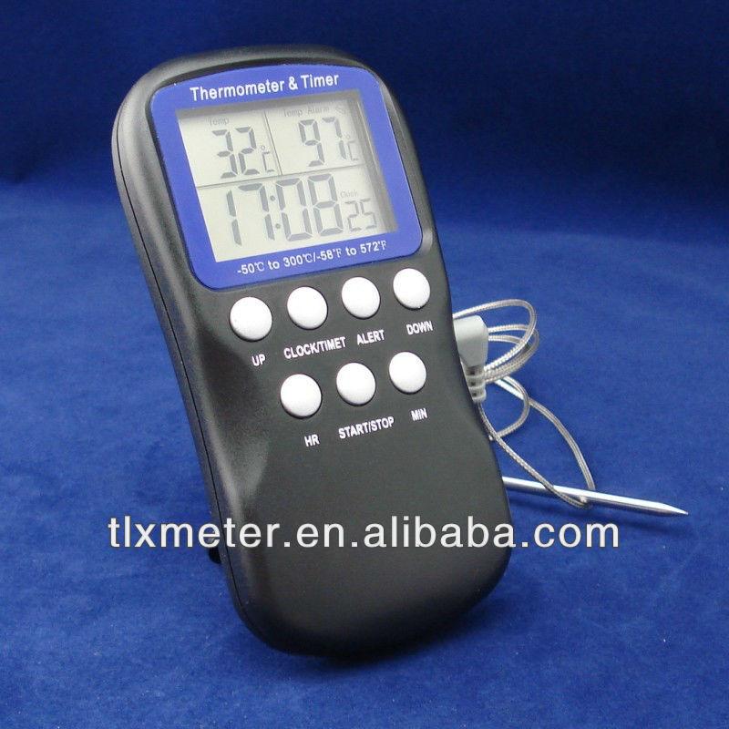 Digital termômetro de alimentos grelhados/forno/churrasco de carne/bife, cozinha cozinhar termômetro com 1.3m sensor fio