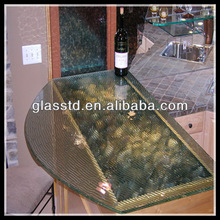 Dignity blown glass bar counter top with rounded edge