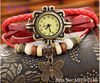 2013 Fashion watch Vintage Real Leather wrap quartz watch wrist butterfly pendant bracelet colourful smart watch in China