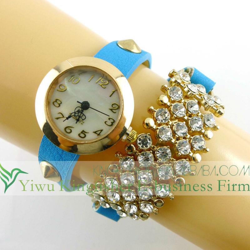 2015 Fashion vintage retro braided twist leather lady watch!! Antique rock rivet twist leather vogue watch quartz lady watch!!