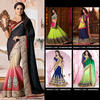 Exclusive Wedding Bridal Lehenga Style Saree / Saris Embroidered / Zari Heavy Work Indian Designer Sarees & Dress - L