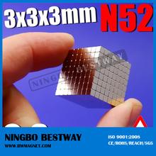 nickel coating 3*3*3 ndfeb rare earth block magnet /block magnet