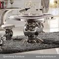 Redonda de aço inoxidável em mármore branco mesa de jantar topo z014#