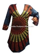 KTLK-12 Without Collar mandala Printed Pakistani designer long Kurtis for girls V shape neck From Jaipur Wholesale lot