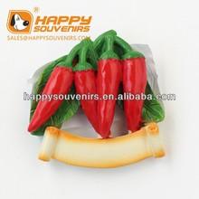 pepper shaped resin fridge magnet for tourist gift