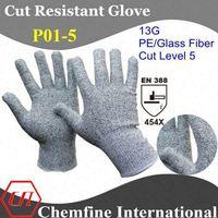 Cut Resistant 13G Gray PE/Glass Fiber Knitted Glove/ EN388:454X