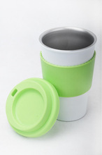 BPA free Stainless steel travel mug with middle rubber/silicon