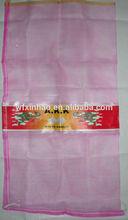 Leno mesh bag for white garlic ; pink leno mesh bag QINGDAO; PE woven bags