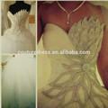 новый элегантный бальное платье возлюбленной кристалла бисером аппликация мусульманские свадебные дёули вино и свадебное платье/платья в турции 2014 zwe-20