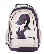 New model school bag with cotton material with pretty girl picture