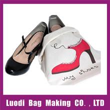 Wholesale reusable promotional cotton drawstring shoe bag,cotton shoe bag