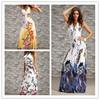 2014 Women Print Flower With Crystal beach long Maxi dress