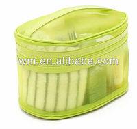 Green nylon mesh travel cosmetic bag with handle
