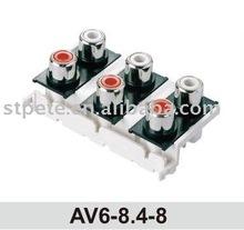 (AV6-8.4-8) audio video connectors AV 6 pin jack RCA jack